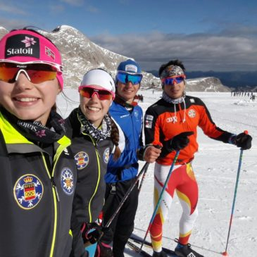Cuatro deportistas de esquí de fondo de la Federación Aragonesa en la concentración RFEDI estos días en Ramsau (Austria)